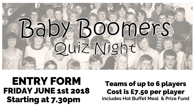 Baby Boomer Quiz - June 1st 2018 - The Boston & County Club